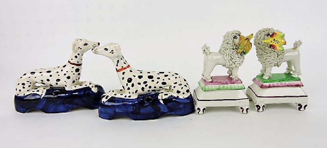 """Staffordshire lot of 2 pair of dogs, 3 1/2""""h &"""