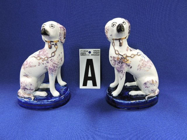 """Stafforshire lot of 4 pair of dogs, 13"""" and 3 - 5"""" - 2"""