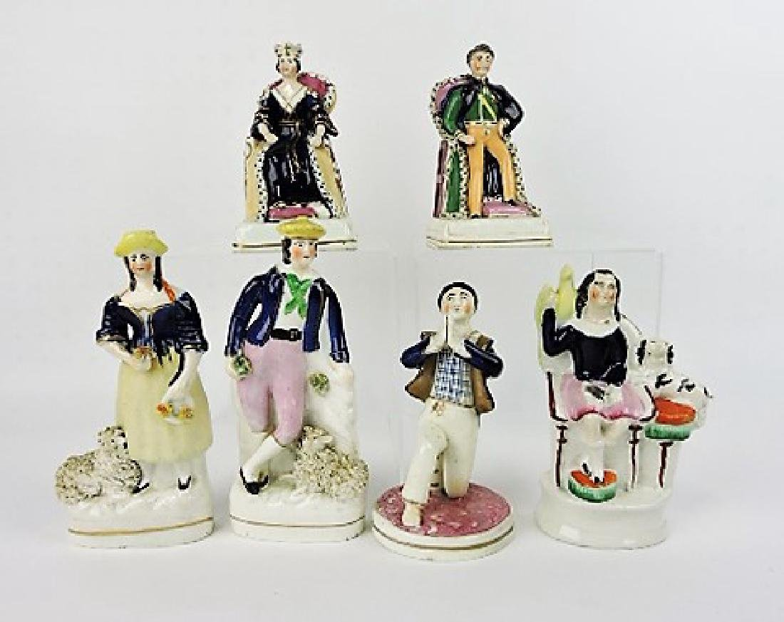 """Staffordshire lot of 6 figures of people, 6 1/4"""""""