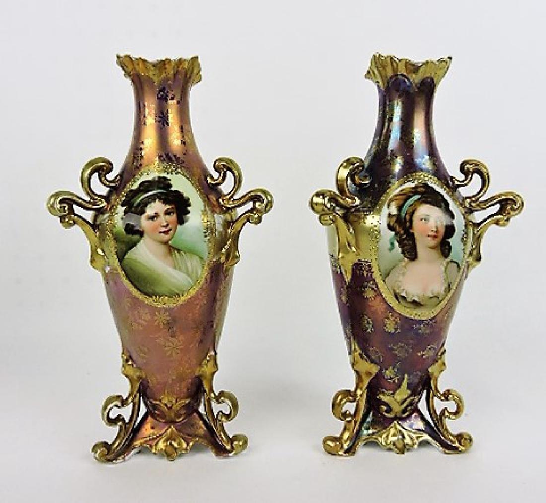 R.S. Prussia Royal Vienna mark pair of tri-foil