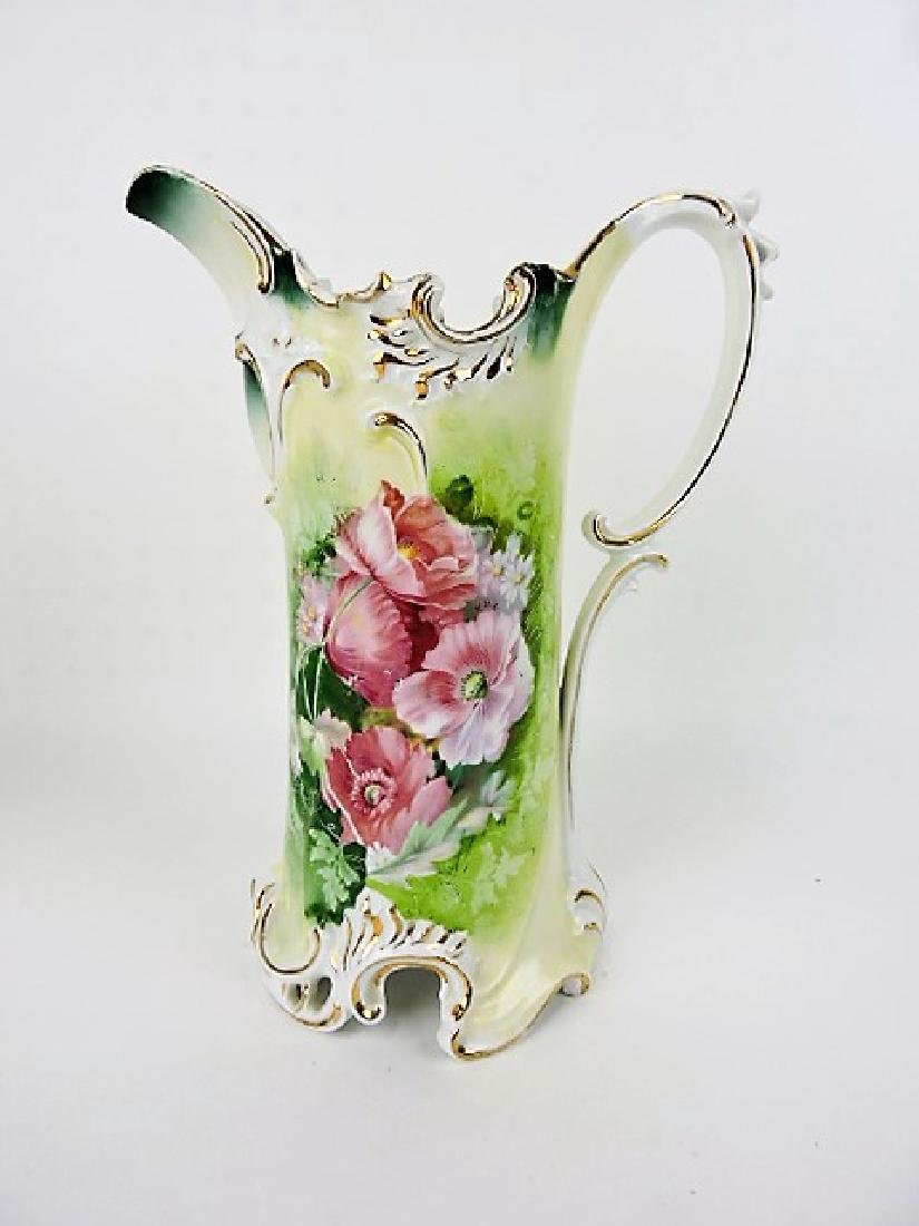 R.S. Prussia red mark, floral tankard, 11 1/2""