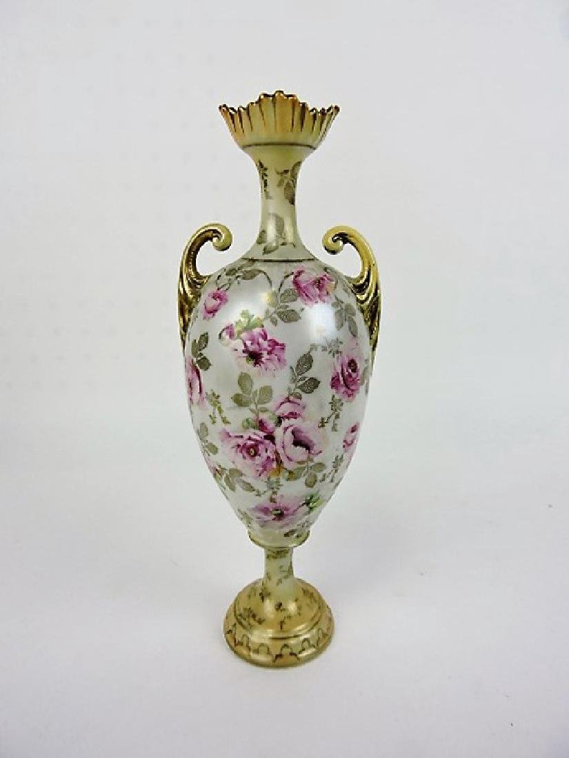 R.S. Prussia red mark two handled vase with