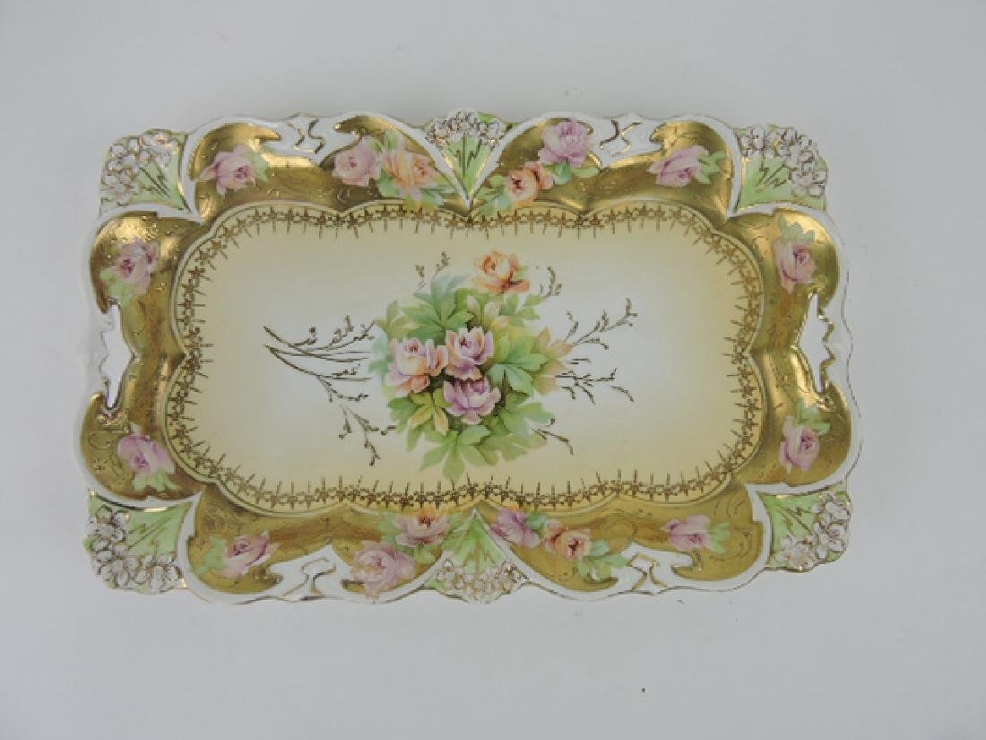 """R.S. Prussia unmarked floral dresser tray, 11 1/4"""""""
