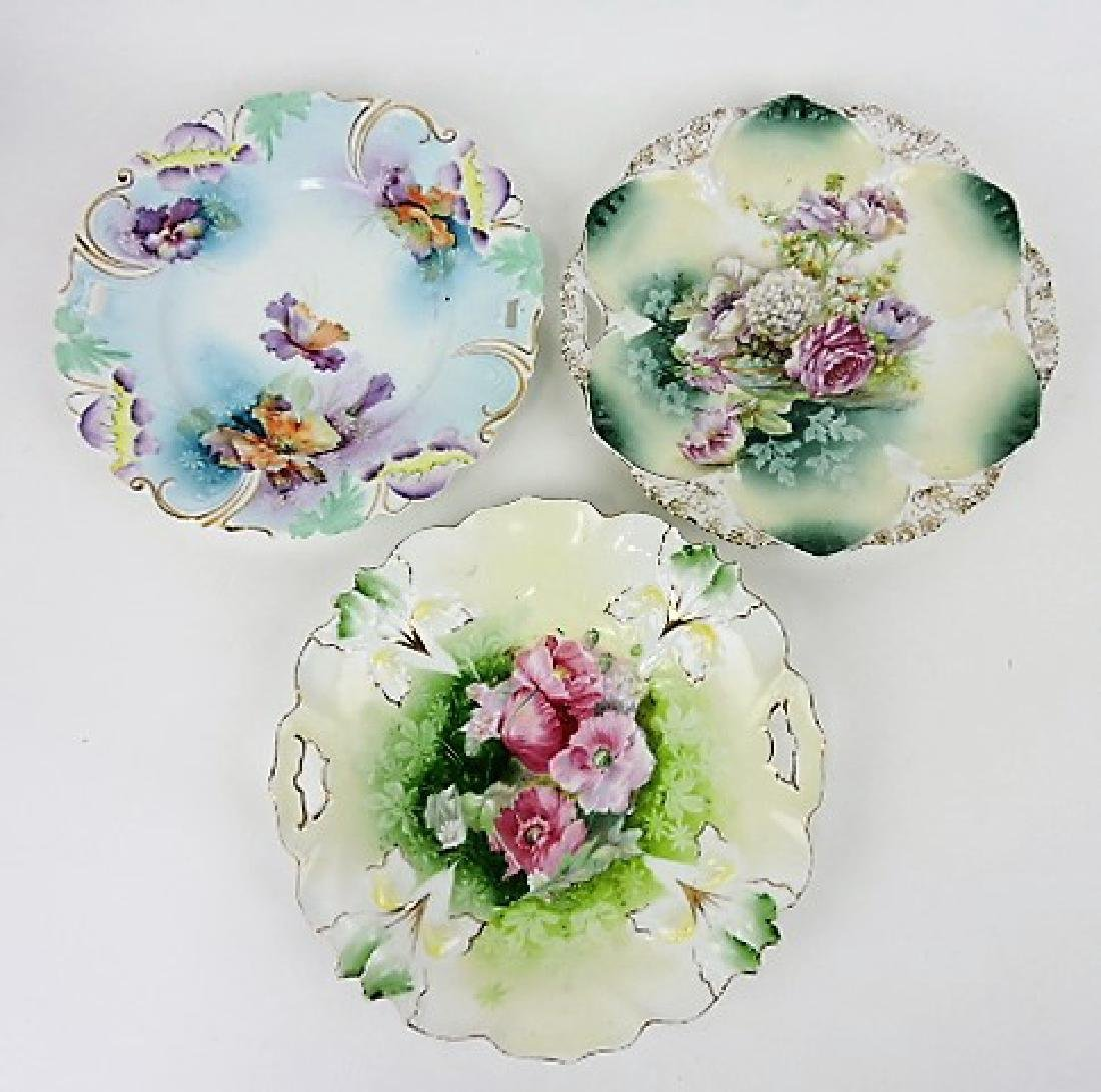 """R.S. Prussia lot of 3 floral cake plates, 9 1/2"""","""