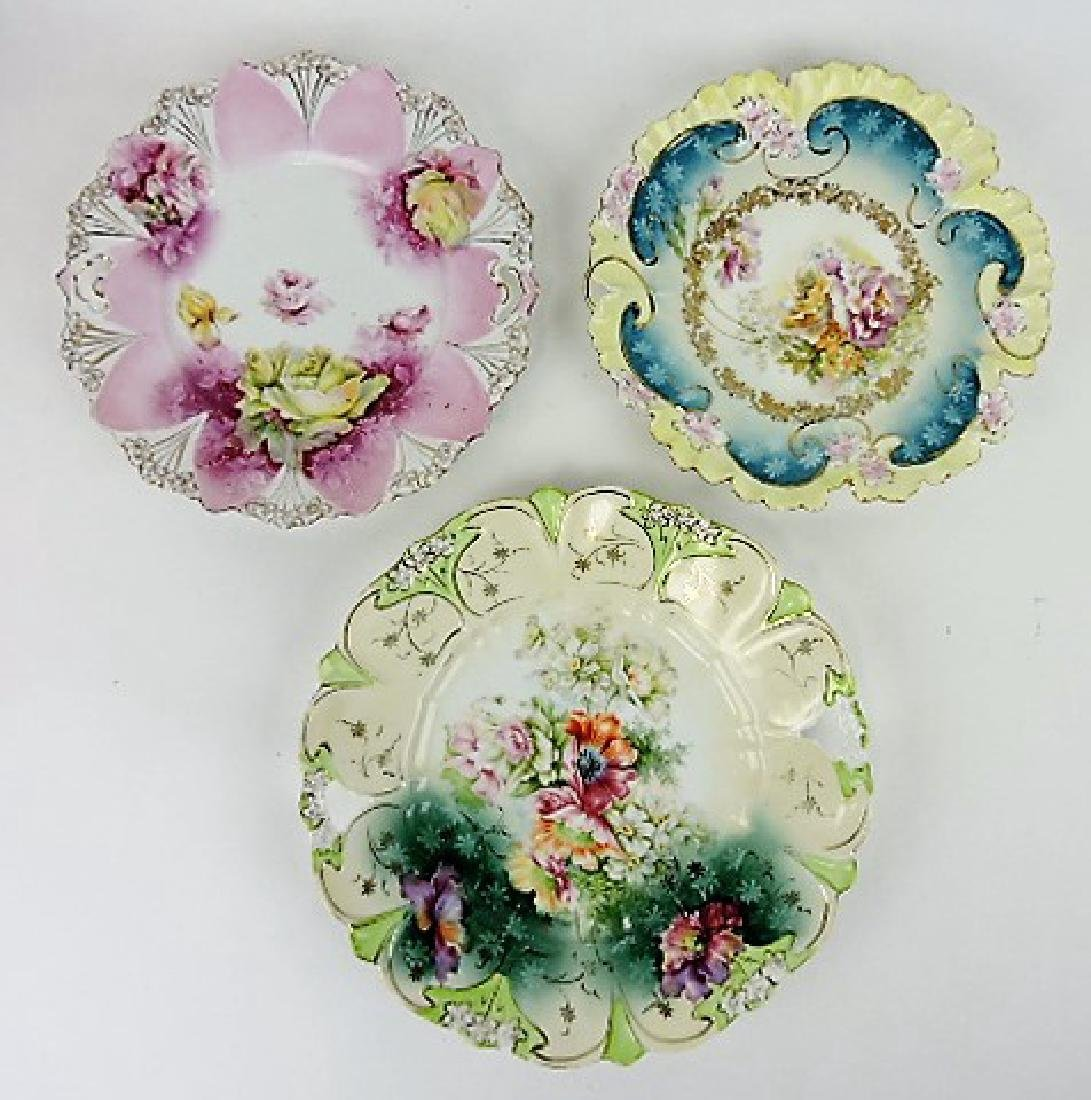 R.S. Prussia unmarked lot of 3 floral cake plates,
