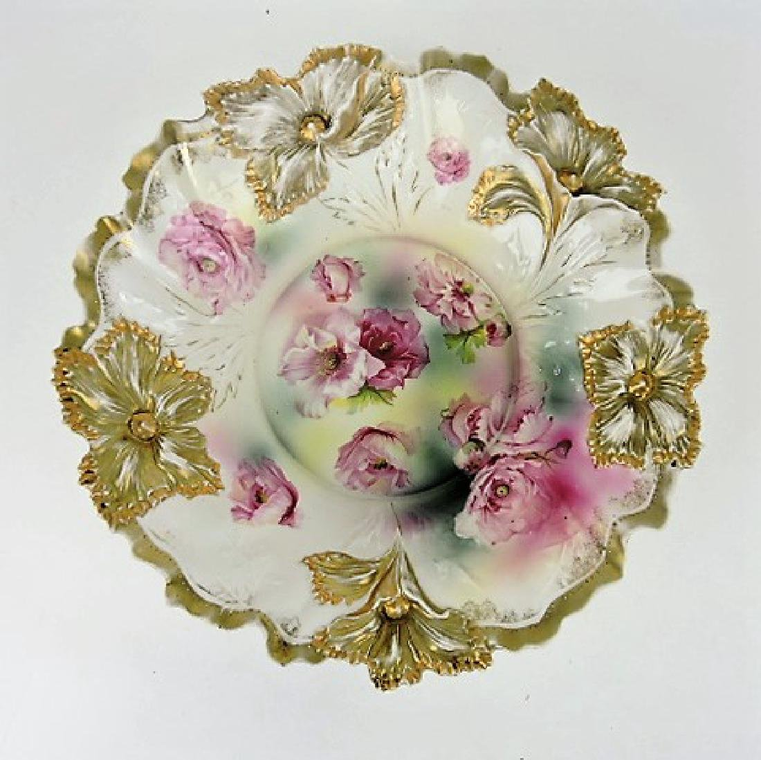 R.S. Prussia red mark floral deep bowl, blown