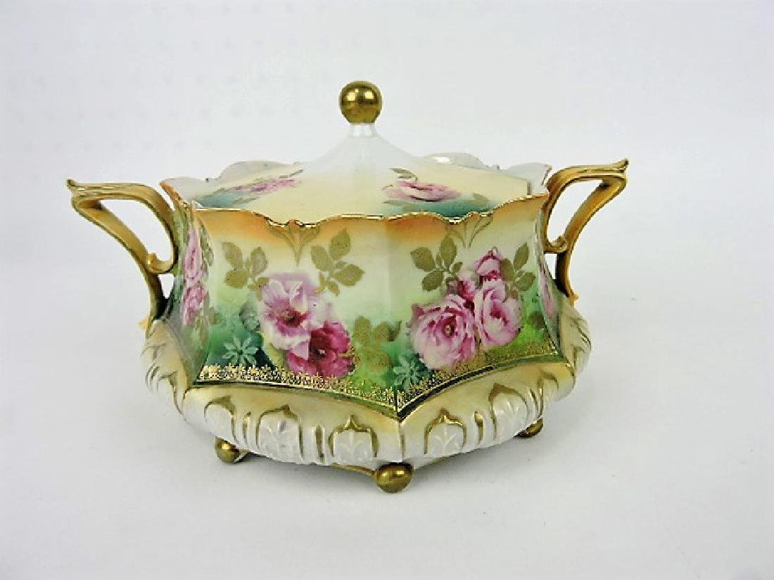 R.S. Prussia red mark cracker jar with roses