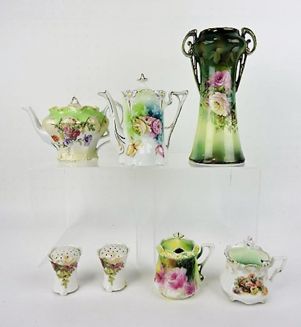 R.S. Prussia lot - 2 teapots, vase, salt/pepper, &