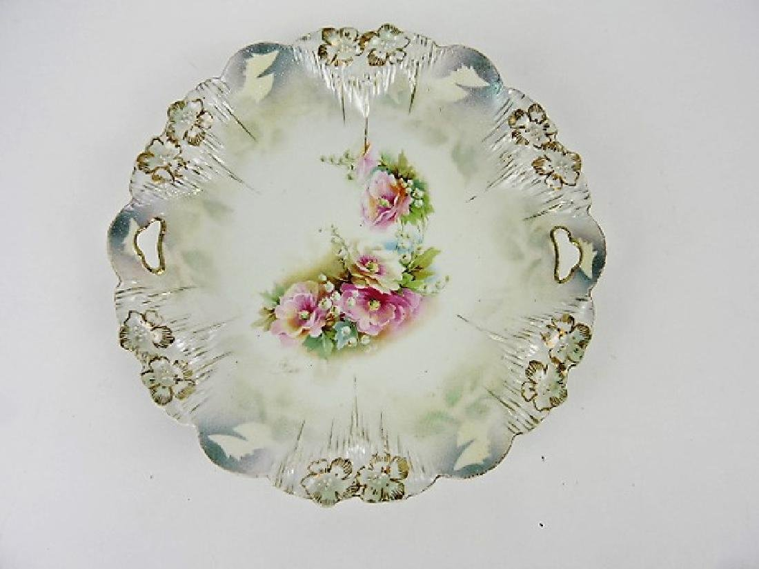 """R.S. Prussia red mark floral cake plate, 9 3/4"""""""