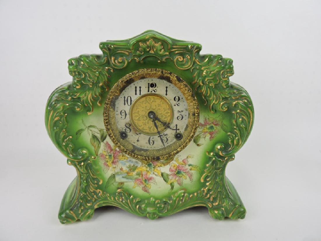 "Gilbert china clock, 11"""