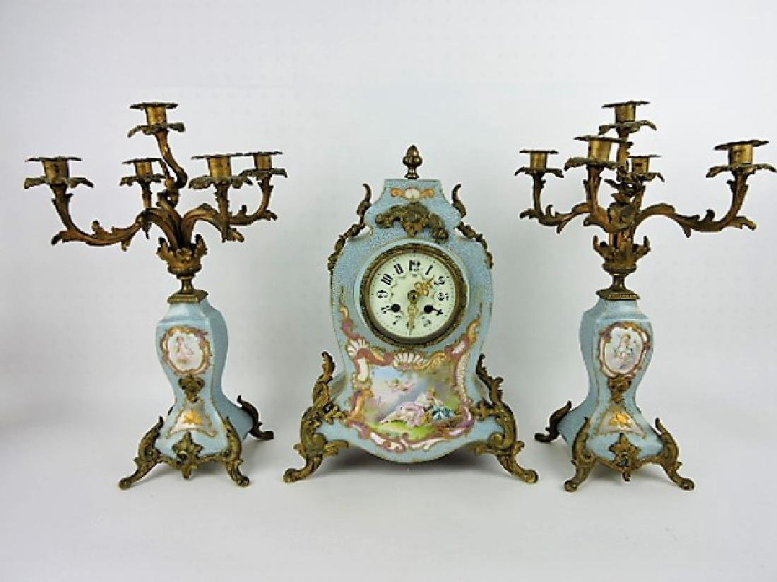 French porcelain 3 pc garniture clock and pair of