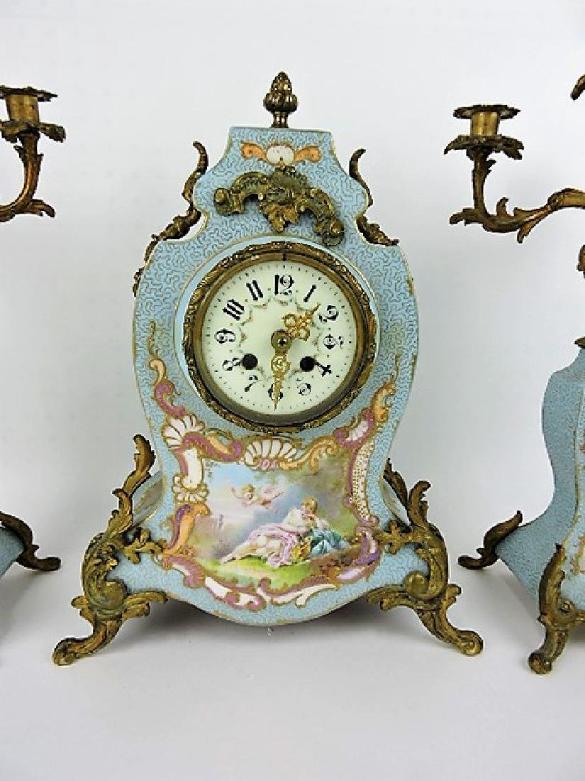 French porcelain 3 pc garniture clock and pair of - 2
