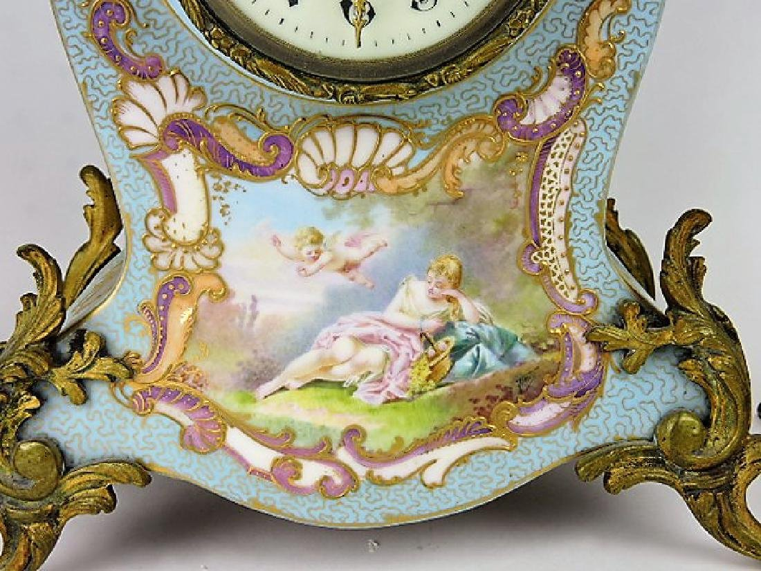 French porcelain 3 pc garniture clock and pair of - 3