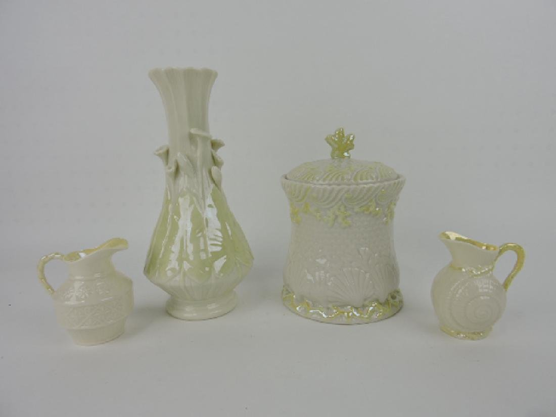 Irish Belleek lot of 4 pcs - 2 creamers, cracker