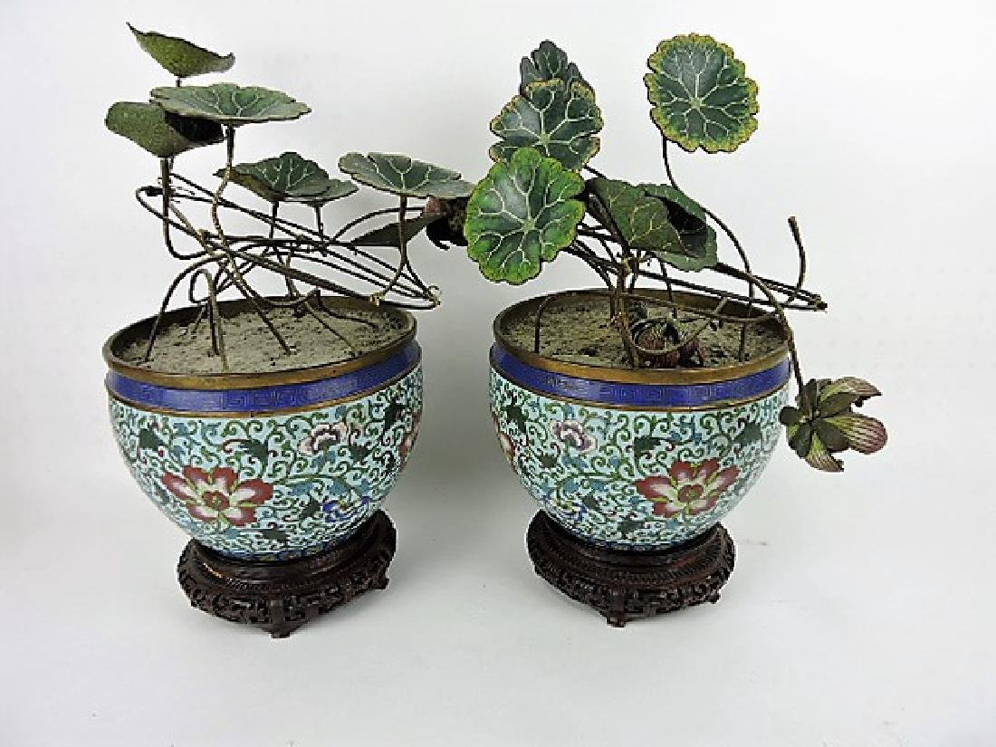 Yung-Chen Dynasty pair of Chinese Cloisonne urns