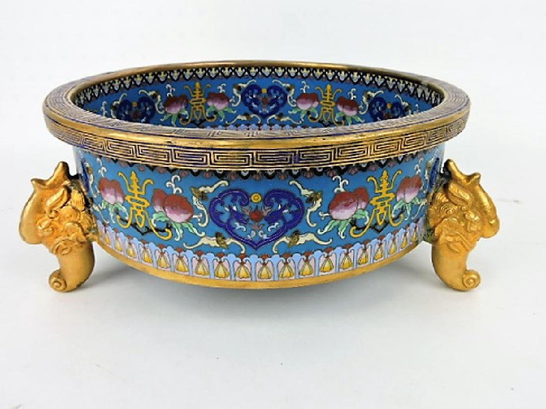 Early Chinese Cloisonne dragon footed bowl,