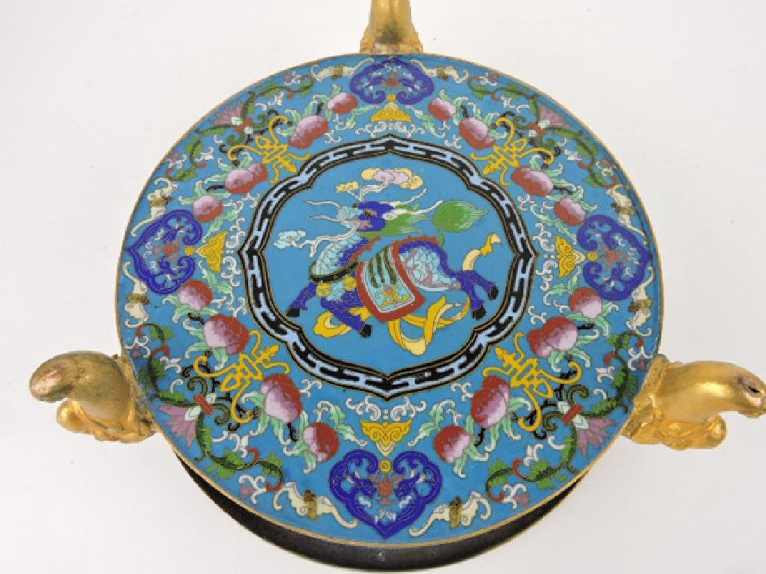 Early Chinese Cloisonne dragon footed bowl, - 3