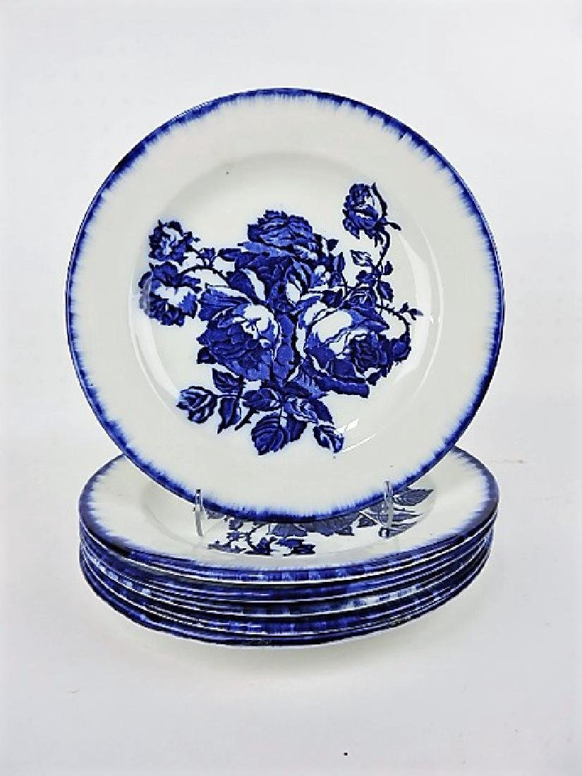 Flow Blue Victoria Staffordshire set of 6 plates