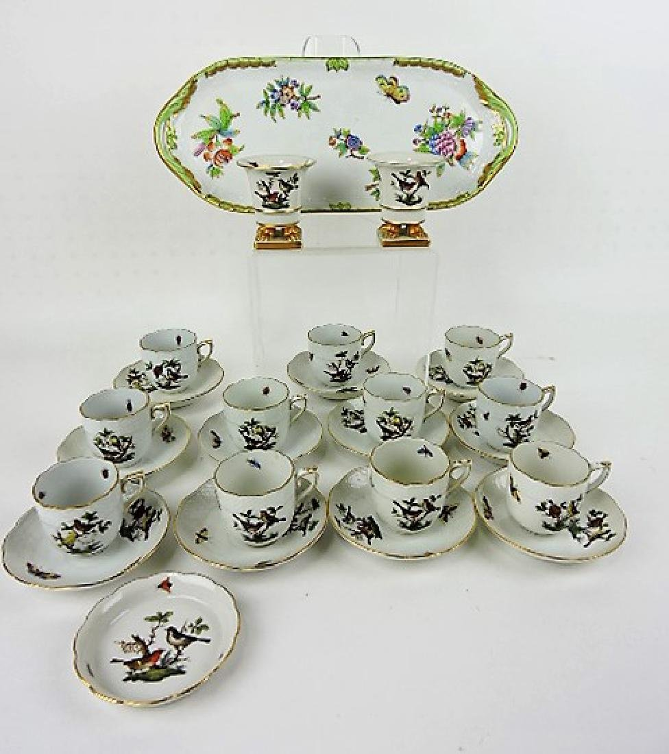 Herend Rothschild porcelain group with birds,