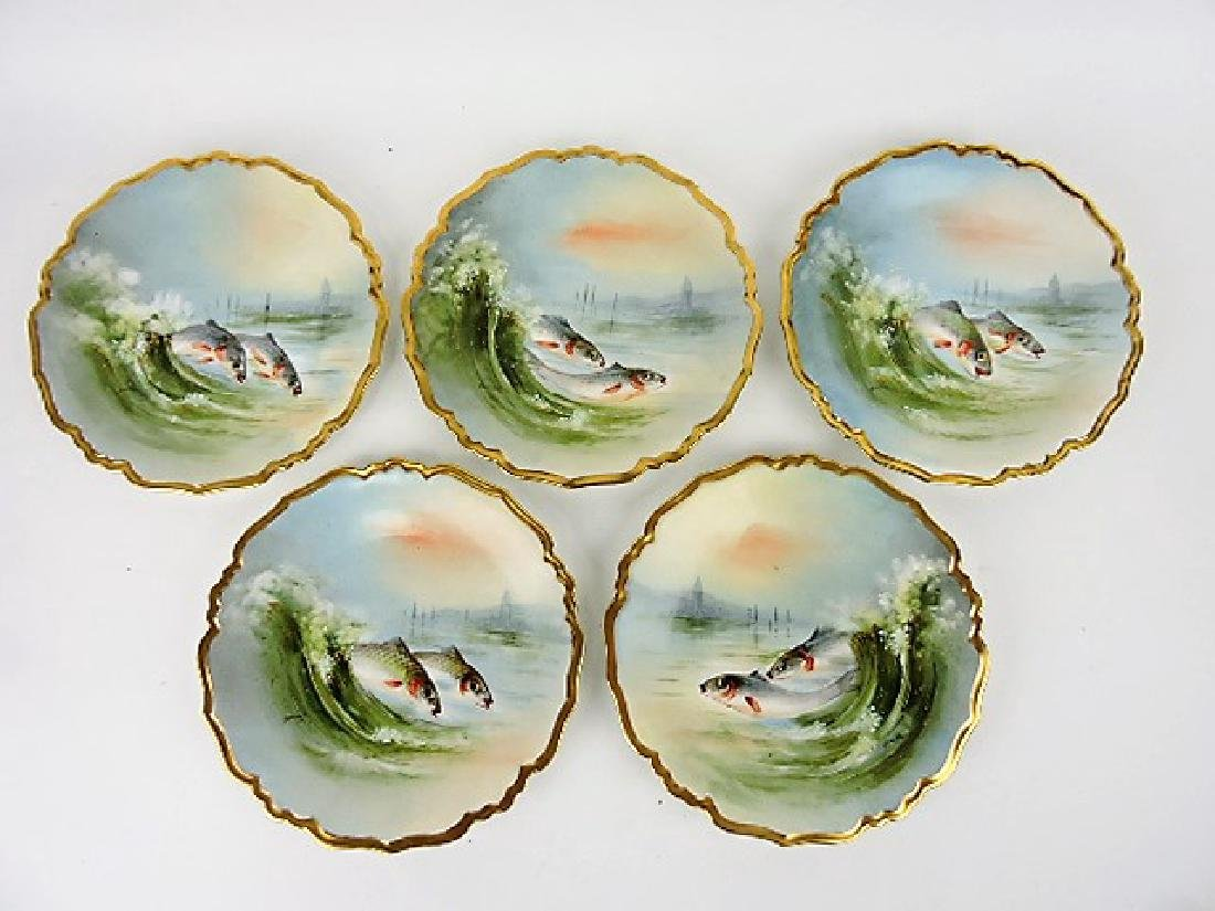 "Limoges set of 5 - 8 1/2"" fish plates"