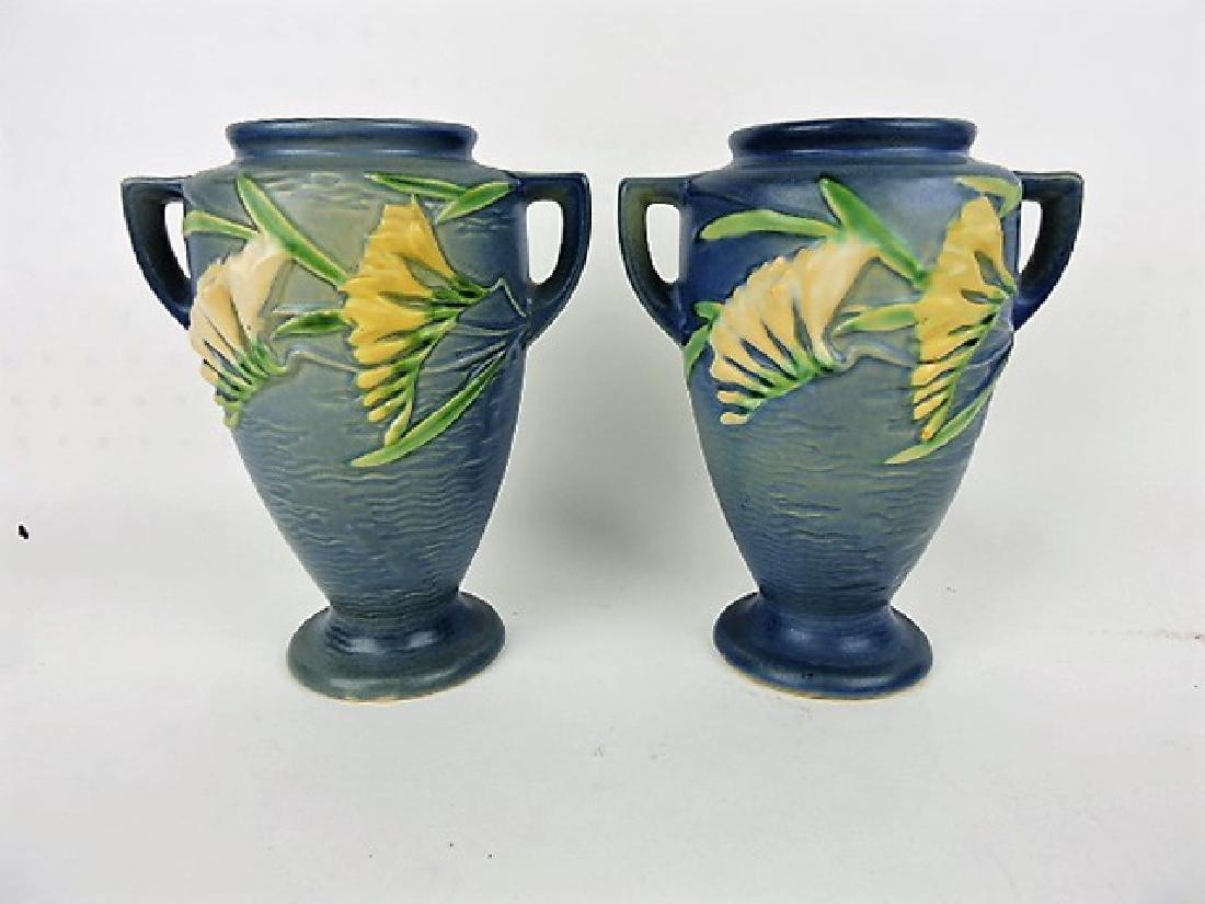 """Rosebille Freesia blue pair of vases, 121-8"""""""