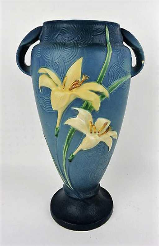 Roseville Zephyr Lily Blue Vase 141 15 Chip To