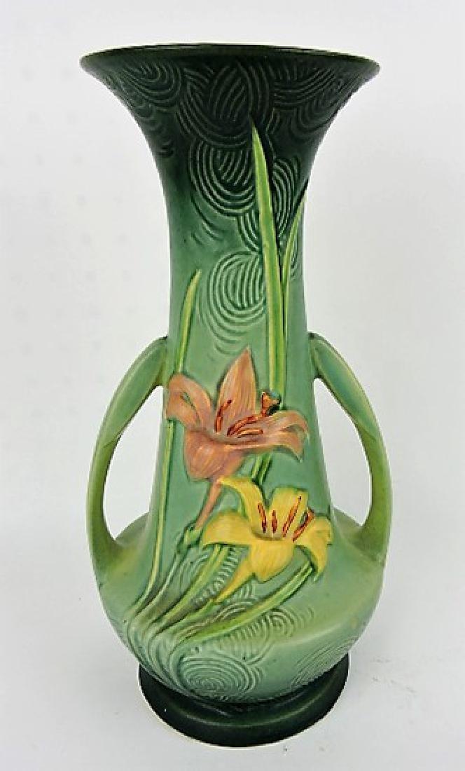 """Roseville Zephyr Lilly green vase, 140-12"""""""