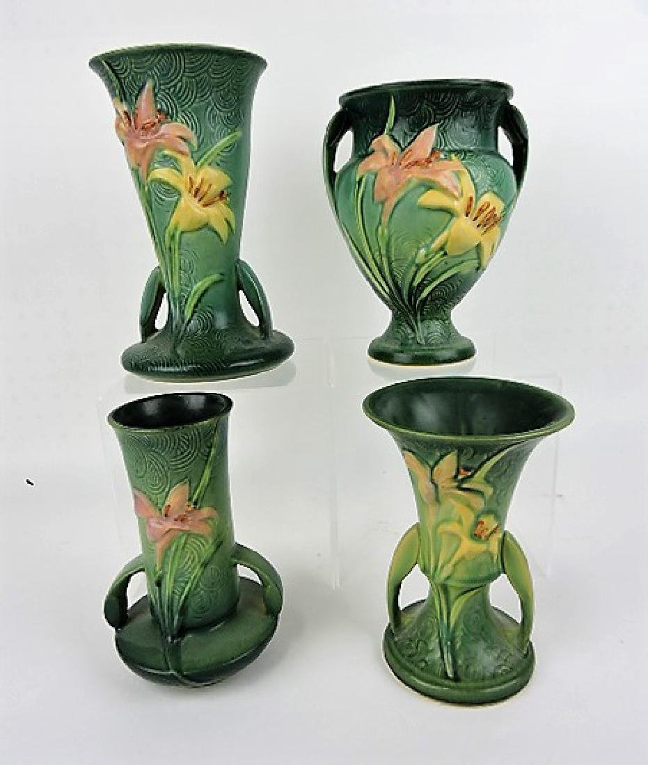 "Roseville Zephyr Lily green lot of 4 vases-136-9"","