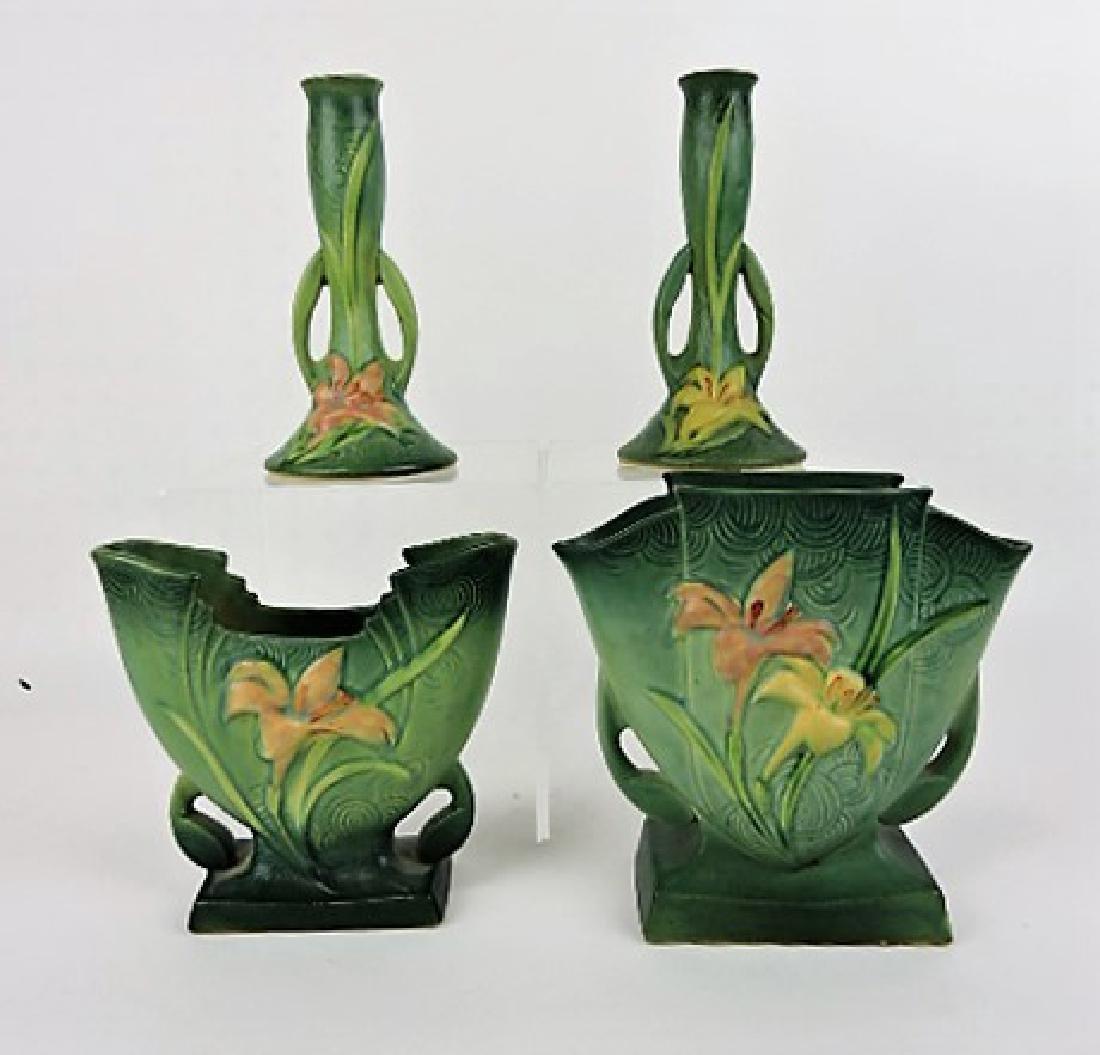 Roseville Zephyr Lily green lot of 4 vases-