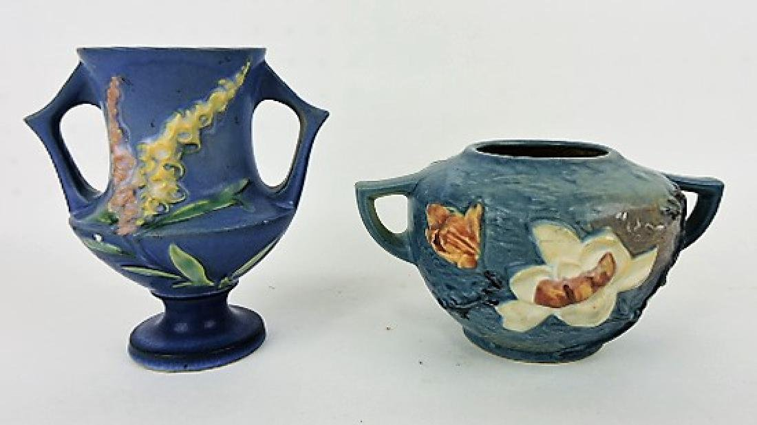 "Roseville lot of 2 pieces-blue Foxglove 161-6"""