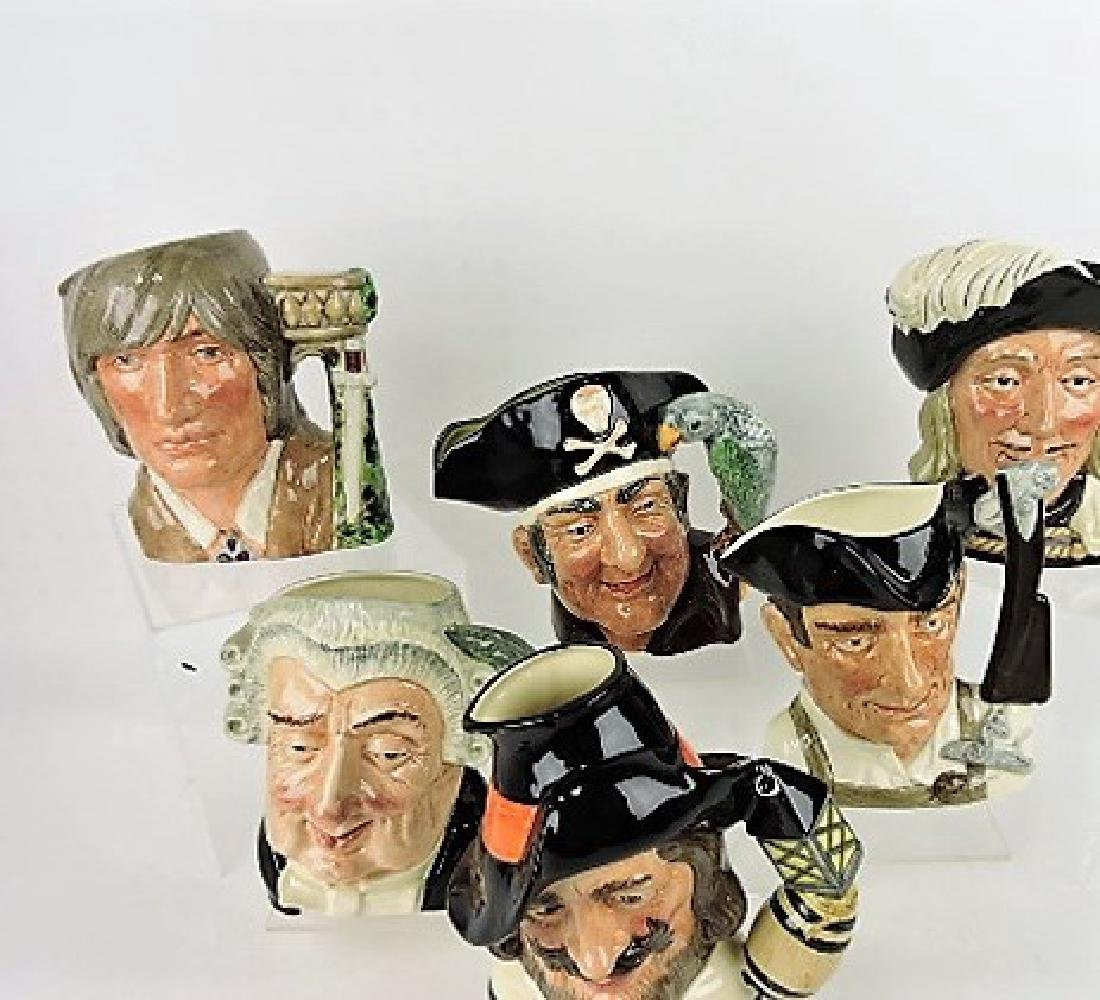 Royal Doulton lot of 6 large toby jugs-