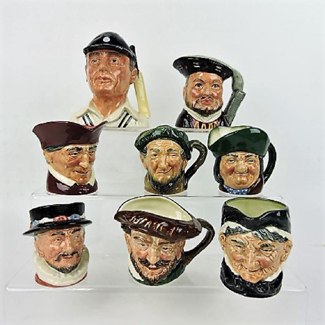 """Royal Doulton lot of 8- 3"""" to 4"""" toby jugs"""