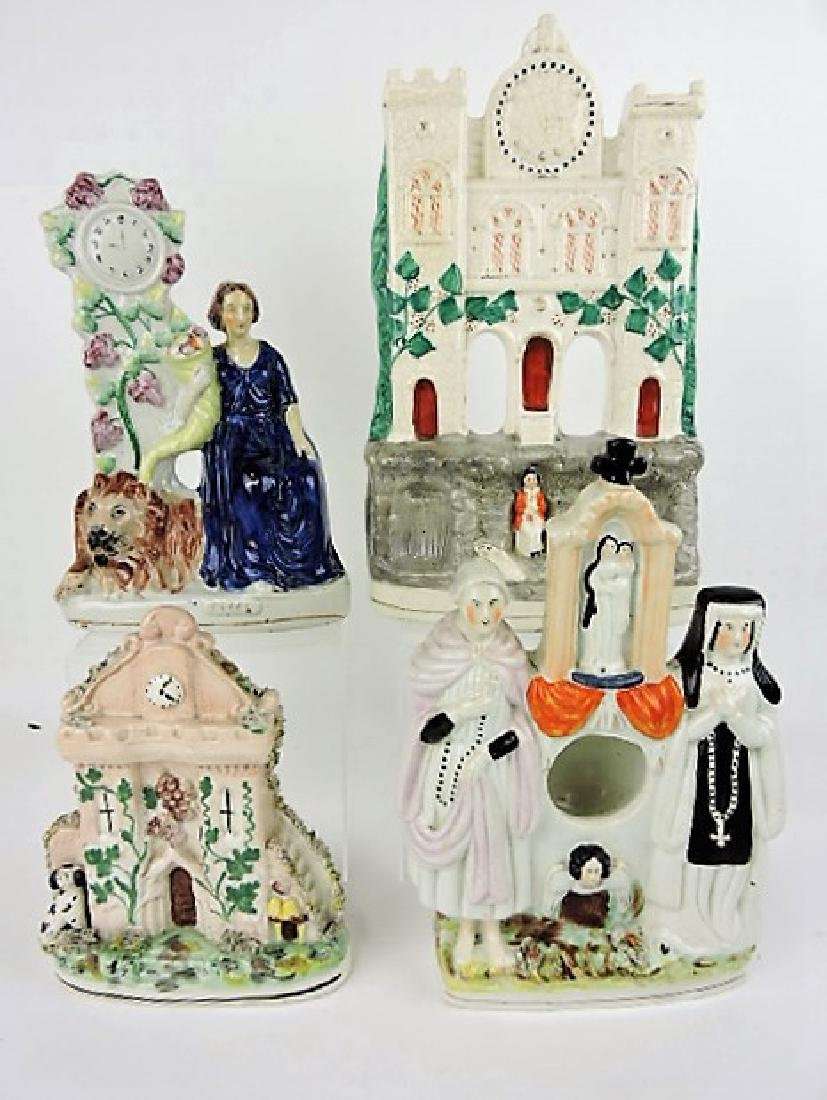 Staffordshire lot of 4 figures with clocks or