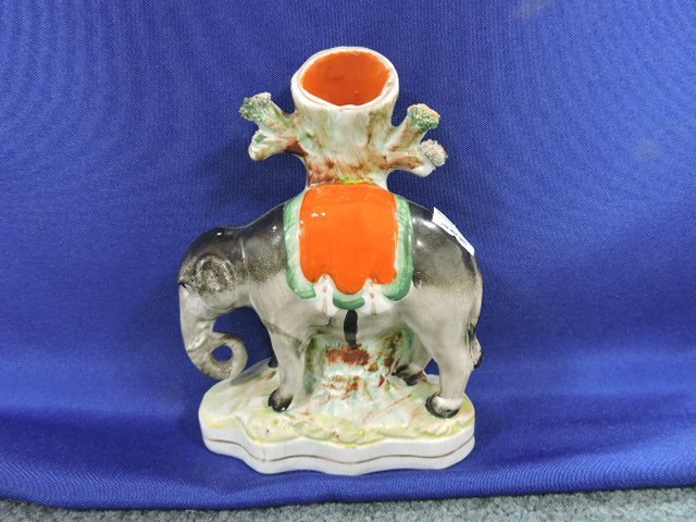 Staffordshire pair of spill vases with elephants, - 2