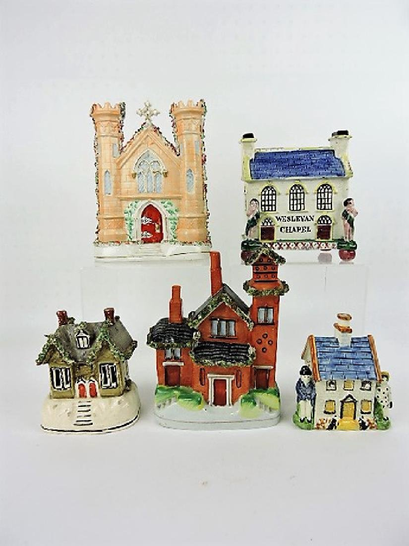 Staffordshire lot of 5 cottage and church figures,