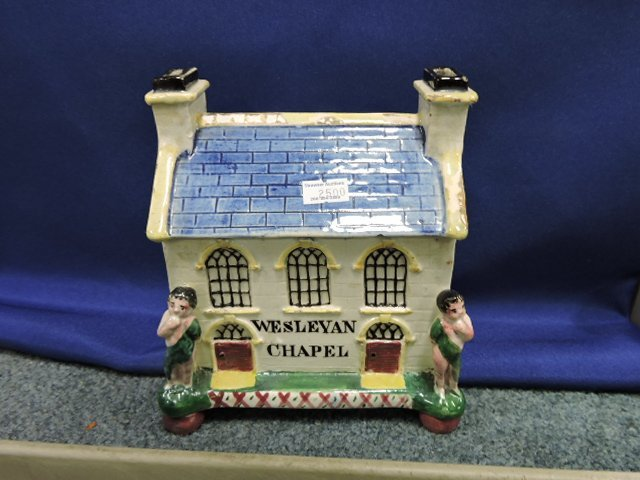 Staffordshire lot of 5 cottage and church figures, - 2