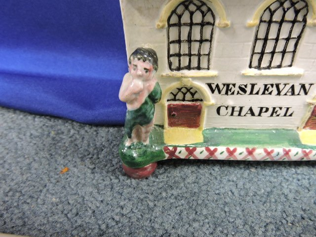 Staffordshire lot of 5 cottage and church figures, - 4