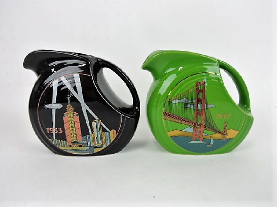 Fiesta Post 86 lot of 2 disc juice pitchers, 2001
