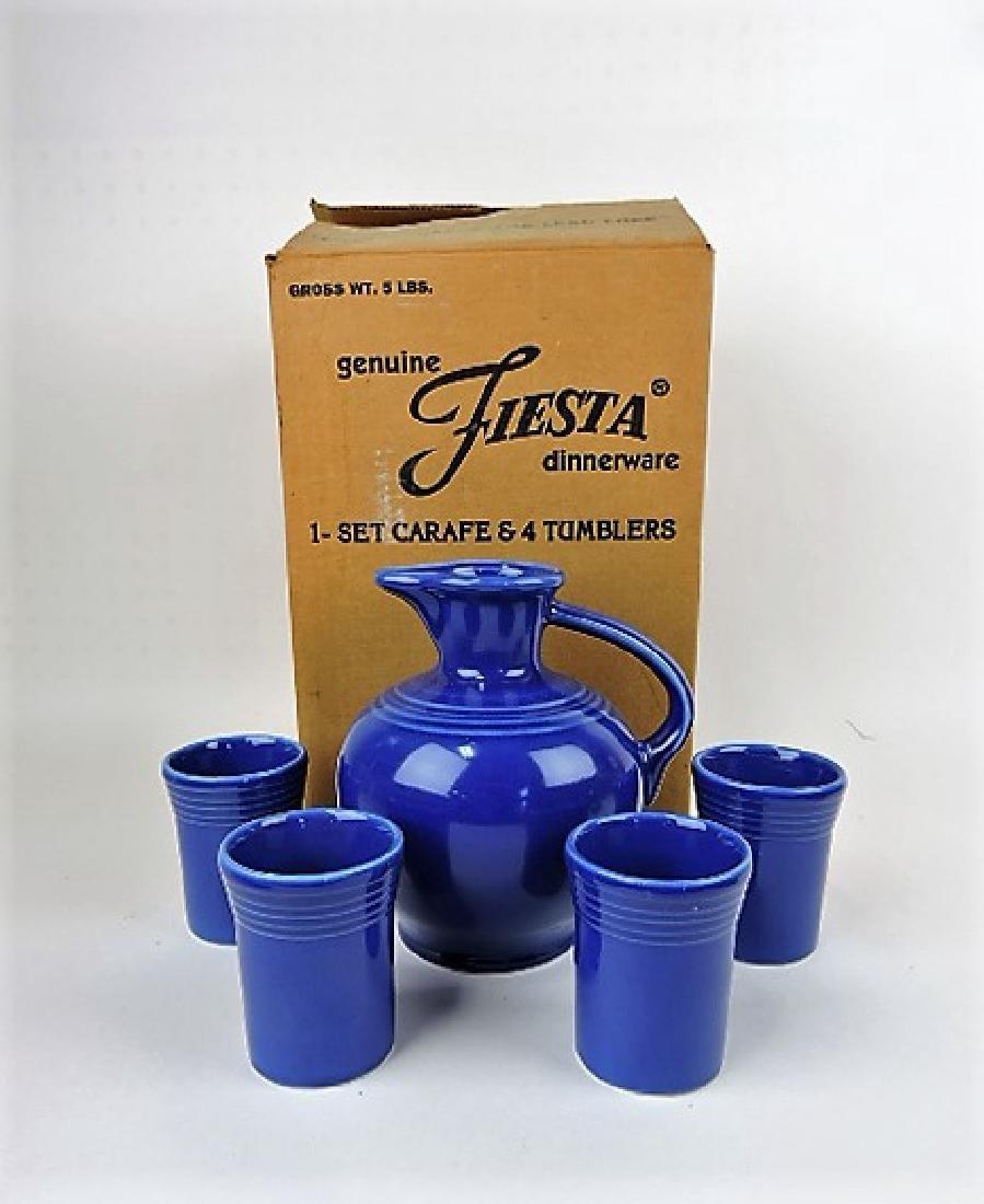 Fiesta Post 86 sapphire carafe and tumbler set,