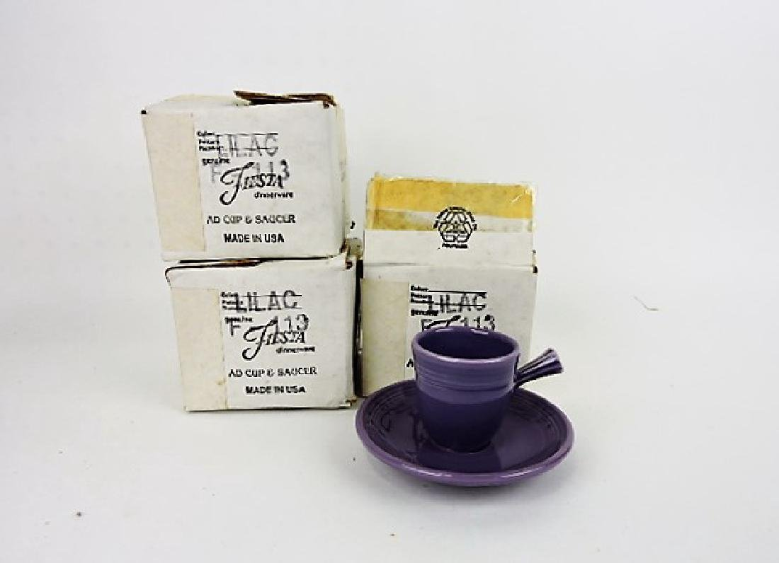 Fiesta Post 86 lilac lot of 3 AD cups & saucers,