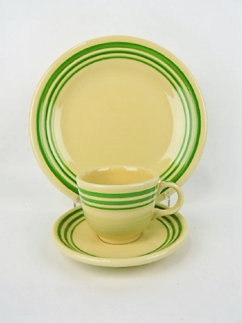 Fiesta Post 86 green stripe dinner plate, cup &