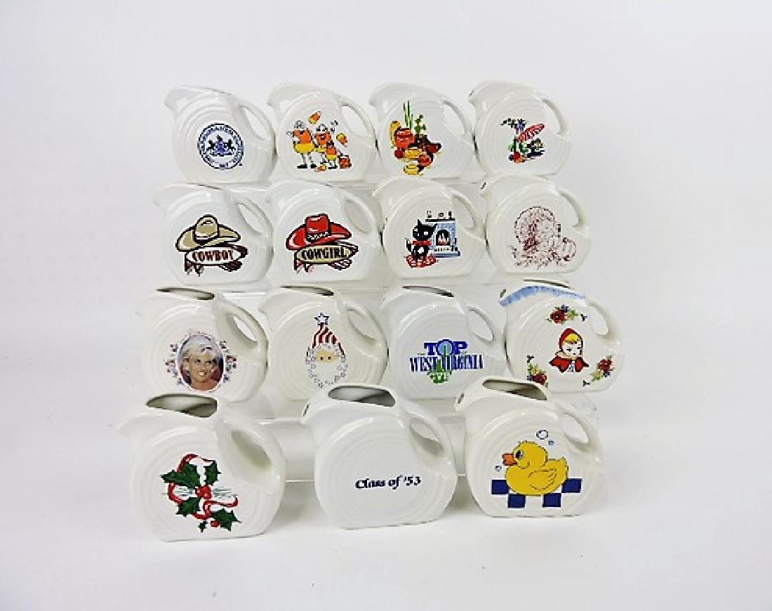 Fiesta Post 86 lot of 15 white mini disk pitchers