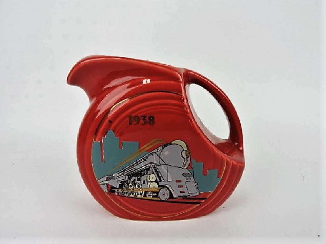 Fiesta Post 86 disk juice pitcher, 1938 Train,