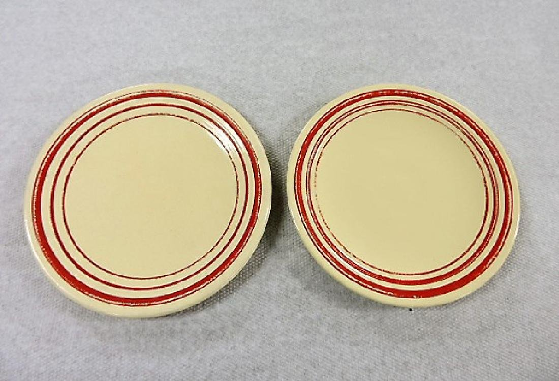 "Fiesta 6"" plate group, rare ivory with red stripe,"