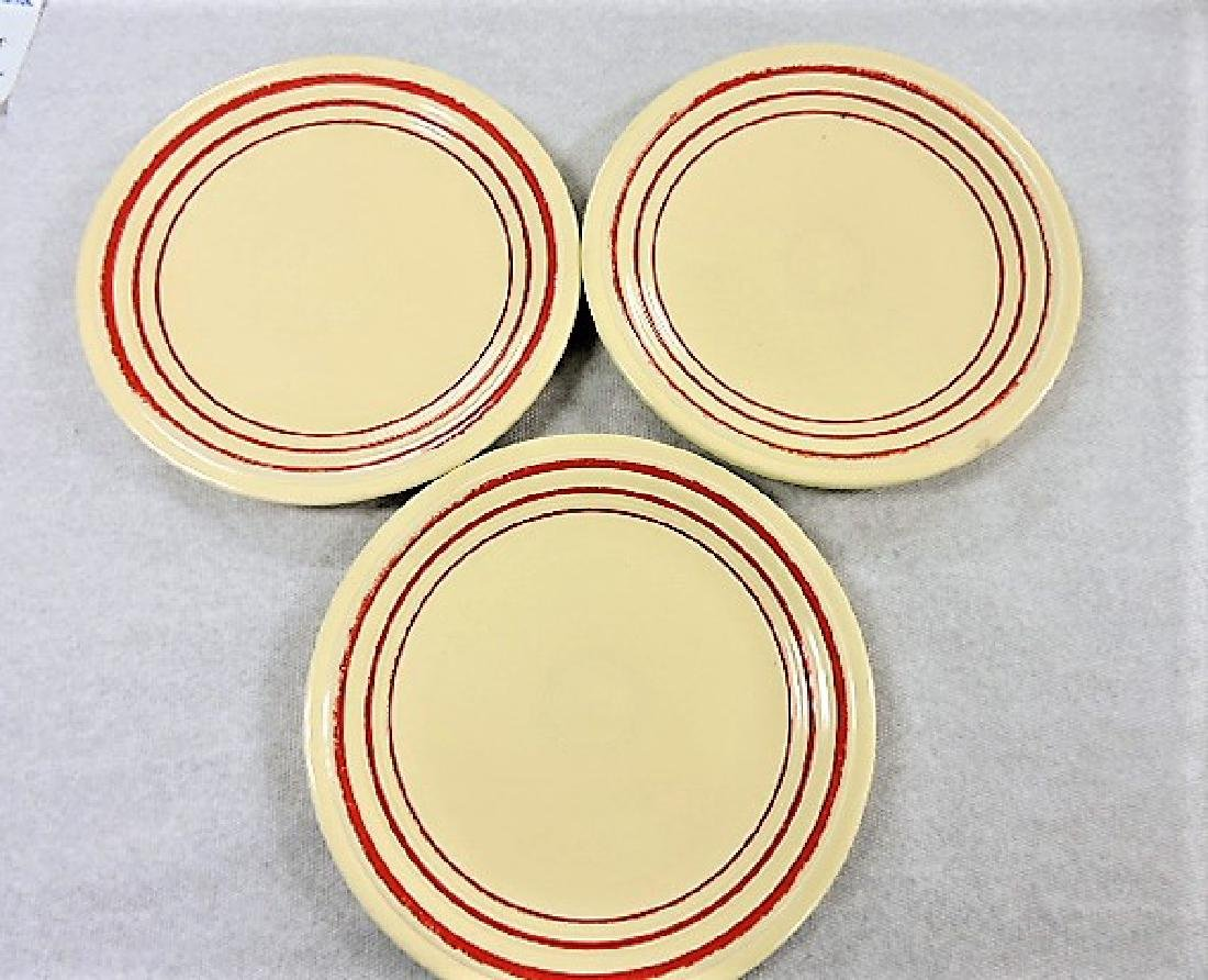 """Fiesta 9"""" plate group, rare ivory with red stripe,"""