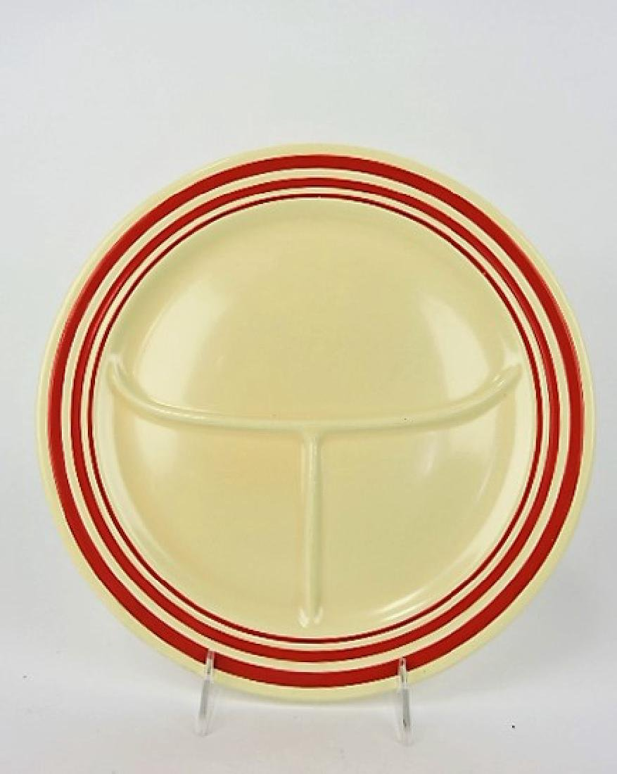 "Fiesta 12"" compartment plate, RARE ivory with red"