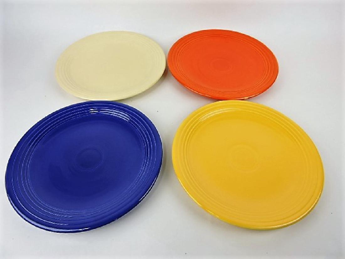 "Fiesta 13"" chop plate, ivory, red (wear), cobalt &"