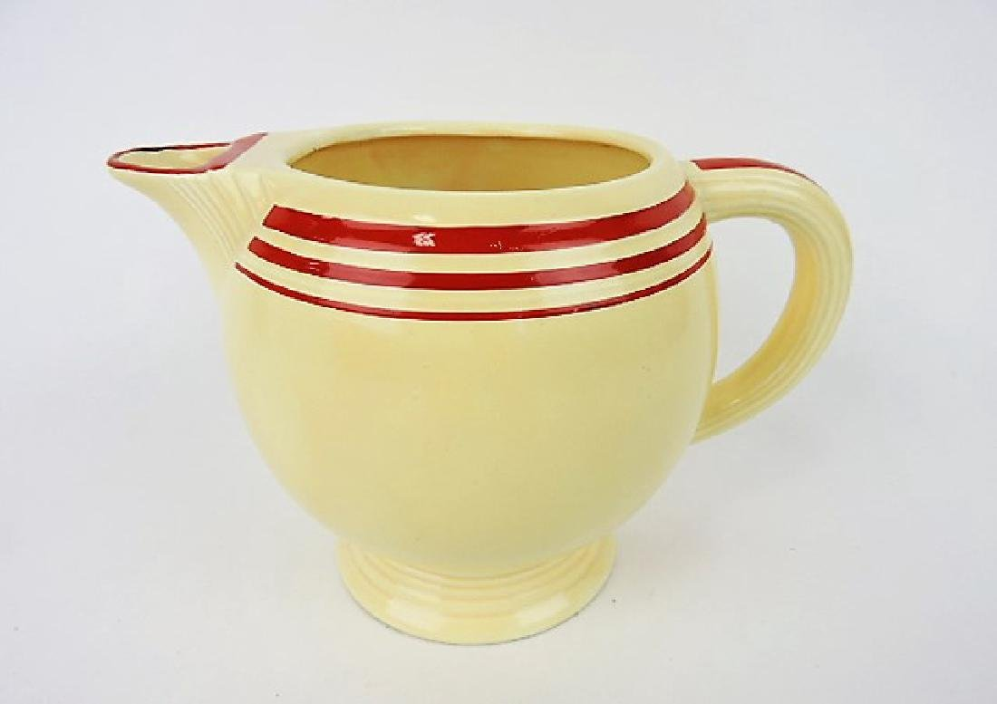 Fiesta ice lip pitcher RARE ivory with red stripe,