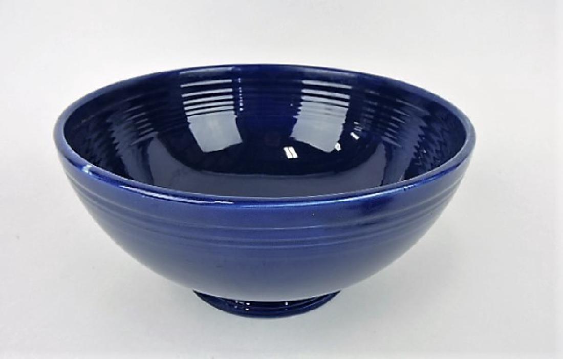 Fiesta footed salad bowl, cobalt, minor glaze miss