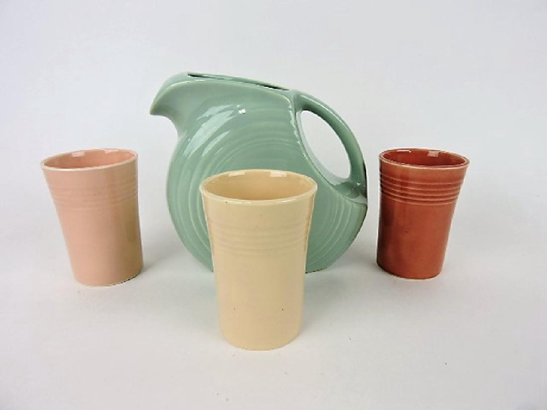 Fiesta Celadon Jubilee juice pitcher and shell